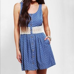UO Pins Needles Crochet-Waist Chambray Dress
